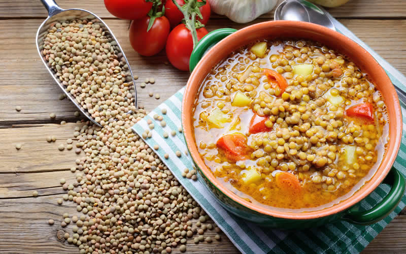 lentils and legumes in a plant-based dog food diet