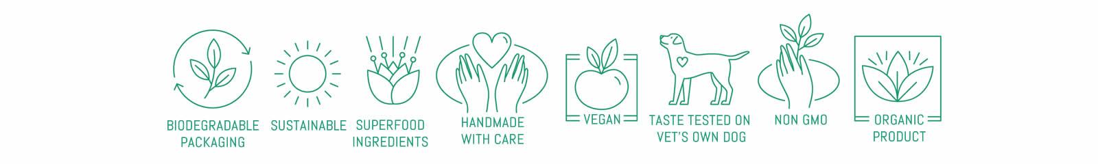 vegan dog food symbols -sustainable, organic, non GMO